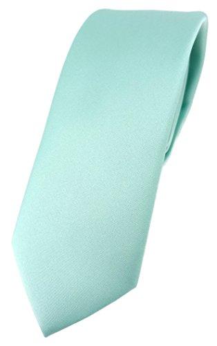 TigerTie schmale Designer Krawatte in mint grün einfarbig Uni - Tie Schlips