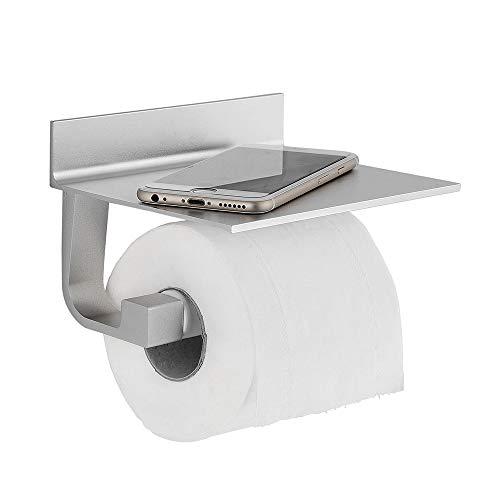 FORIOUS Toilettenpapierhalter ohne Bohren, Klopapierrollenhalter mit Ablage, Patentierter Kleber + Selbstklebend, Aluminium, Mattes Finish