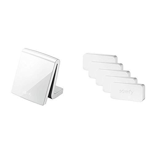 Somfy 2401354 - TaHoma Premium Smart Home Steuerung für vernetztes Haus, inkl. Funk-Handsender, weiß + Protect 2401488 IntelliTAG, intelligenter Sensor für Home Alarm, 2401487A, Weiß, 5 Stück