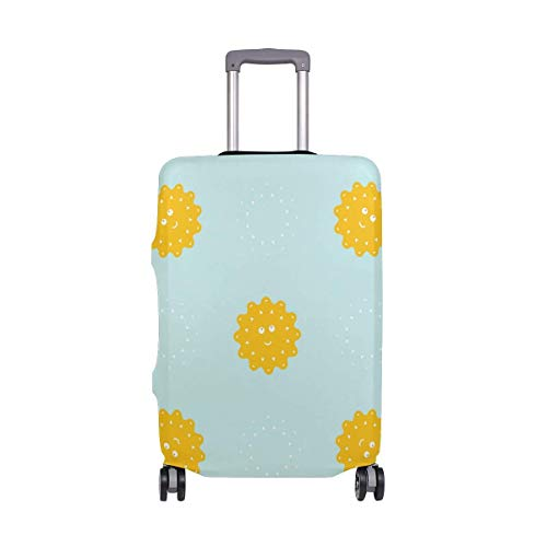 IUBBKI Travel Luggage Cover Blue Background Cartoon Little Sun Suitcase Protector Fits L Washable Baggage Covers