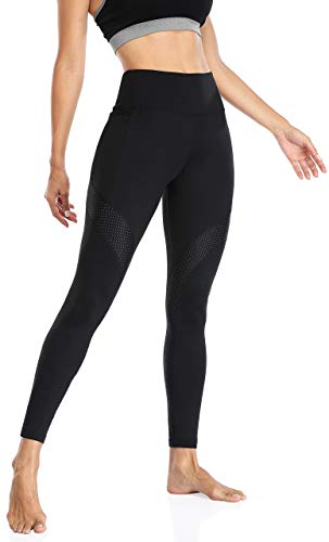 Anwell Sportswear Damen Hose High Waist Sport Fitnesshose mesh Jogginghose Stretch Leggings with Pockets Schwarz M