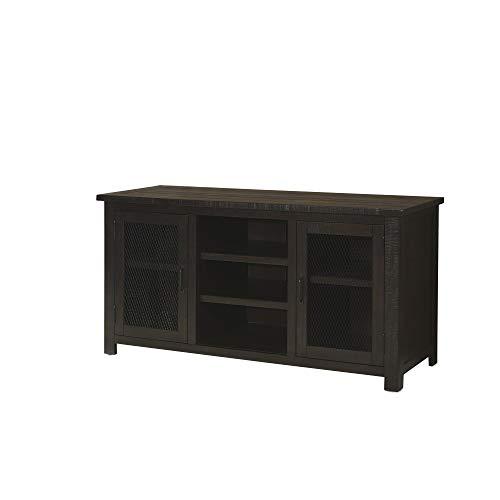 Benjara 60 Inch Rustic Wooden TV Stand with Mesh Design, Dark Brown -  BM231515
