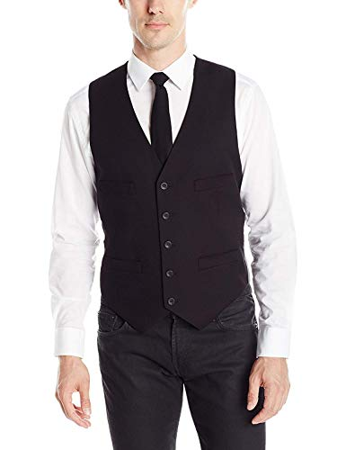 Kenneth Cole REACTION Men's Slim Fit Suit Separate Vest (Blazer, Pant, and Vest), Black, Medium