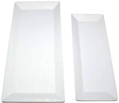Partito Bella Large Rectangular Serving Platters - Set of 2 Trays, White Porcelain Ceramic Platter Sizes 15' x 7' and 12' x 5'