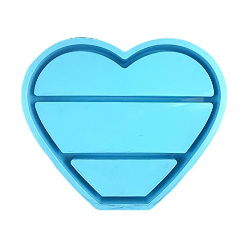 SHURROW Amor Organizador de Joyas en Forma de corazón Molde de Resina epoxi Caja de Almacenamiento Molde de Silicona Bandeja para Hornear Azul