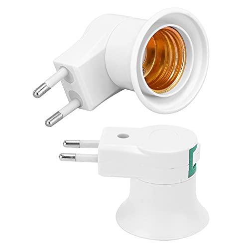 Portalámparas, portalámparas, portalámparas E27 2 Piezas con Interruptor de Carga, portalámparas PVC, Enchufe Europeo 220V