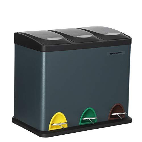 SONGMICS Cubo de Basura, Basurero con Pedal 3 en 1, 24 Litros, Sistema de Separación de Residuos para la Cocina, Duradero, Fácil de limpiar, Acero, Gris Ahumado LTB24GS