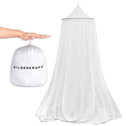 Silberkraft Mosquitera prémium con ganchos adhesivos, XXL para cama doble, dosel con cremallera como protección contra mosquitos, red antimosquitos para viajes y en casa, con bolsa de transporte