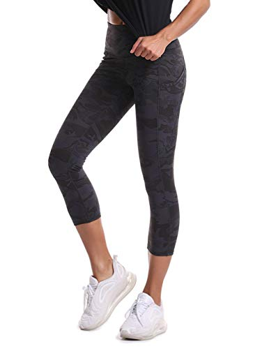 THE GYM PEOPLE Thick High Waist Yoga Pants with Pockets, Tummy Control Workout Running Yoga Leggings for Women (Medium, Z-Capris Camo)