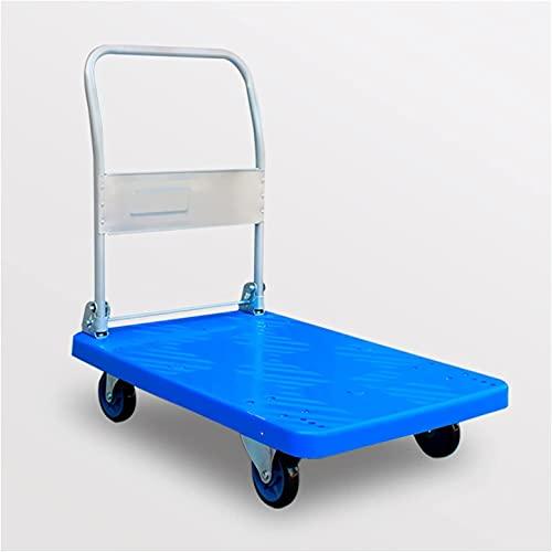 Eortzpc Carretilla de Mano Camión de plástico de la Plataforma de la Plataforma de plástico con Ruedas y Mango de Metal Plegable para el Transporte Artículos para el hogar Ordenador Personal Equipaje