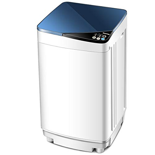 Giantex Full-Automatic Washing Machine Portable Washer and Spin Dryer 7.7 lbs Capacity Compact Laundry Washer with Built-in Barrel Light Drain Pump and Long Hose for Apartments Camping (White & Blue)