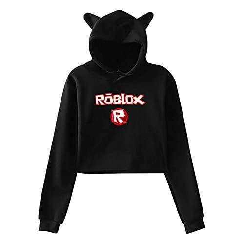 Dab_Bing Rob_Lox Sudadera con capucha para mujer con orejas de gato, Negro, M