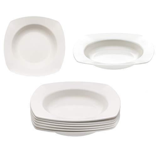 KM · Living 6 Stück Set Kunststoff Mehrweg Suppenteller cremeweiß 20cm (Made in Germany/bruchfest/BPA frei/Spülmaschinen und Mikrowellen geeignet)