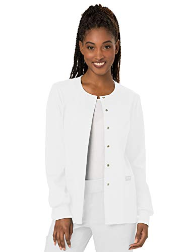 Cherokee Women's Snap Front Warm-up Jacket, White, Large