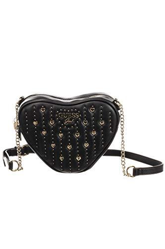 Guess - Bolso de corazón negro con cadena y tachuelas para niña Negro Size: 22 x 14 x 6 cm