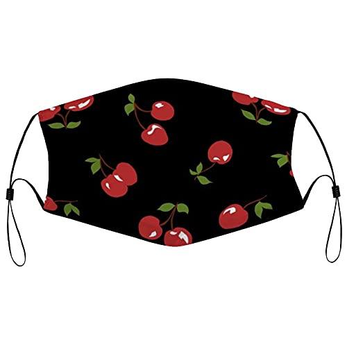 Cherry Mascarilla facial para hombres, mujeres, niños, adolescentes, cómoda, lavable, reutilizable, para cosplay