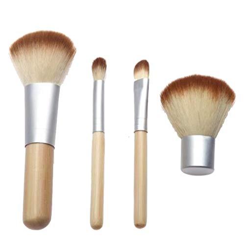 4 Manche en bambou Pinceau de maquillage + Petit sac, Ombre à paupières Fondation Pinceau de maquillage par Marxways