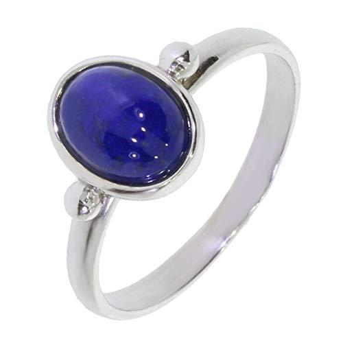 ARTIPOL Ring mit echter Lapis Lazuli europeische Produktion franz.Stil - Schmuck silbern-rhodiniert - Ref 26-06 - größe 62 (19.7)