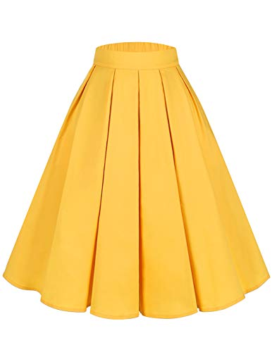 bridesmay Damen Rockabilly Rock A-Linie Vintage Retro Faltenrock Midi Swing Röcke mit Taschen Yellow L