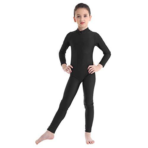dPois Mädchen Langarm Ganzanzug Ballett Trikot Bodysuit mit Stehkragen Reißverschluss Gymnastikanzug Turnanzug für Training Fitness Sport Schwarz 140-152/10-12 Jahre