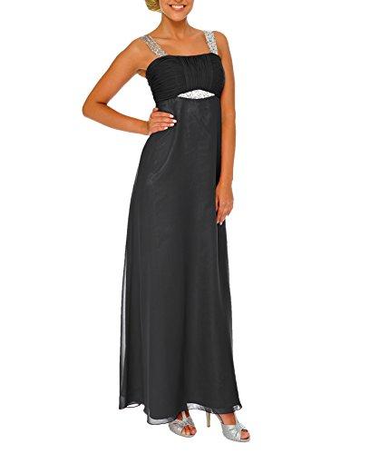 Astrapahl Damen Cocktail Kleid mit Pailletten, Maxi, Einfarbig, Gr. 38, Schwarz