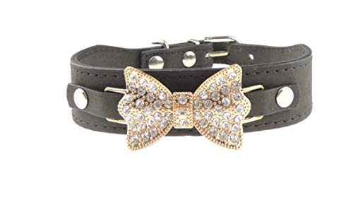 Collier imitation cuir avec nœud papillon pour chiens et chats Taille XS Noir doré