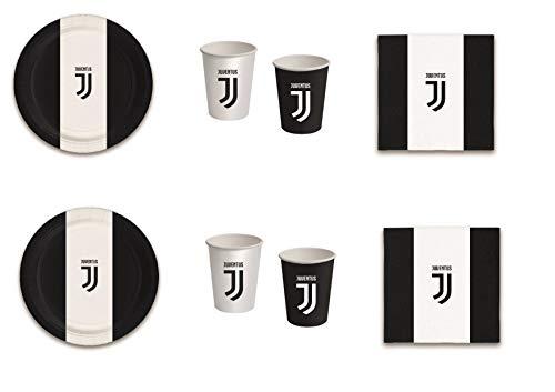 Casa Dolce Casa Set Nr. 1 mit 8 Tellern, 8 Bechern und 20 Servietten, passend für Sport Fußball F.C. Juventus für Geburtstag, Veranstaltungen, Dekorationen, Tischdekorationen und Partys