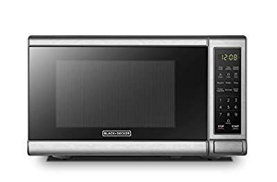 BLACK+DECKER EM720CB7 Digital Microwave Oven with Turntable Push-Button Door,Child Safety Lock,700W, Stainless Steel, 0.7 Cu.ft (Renewed)