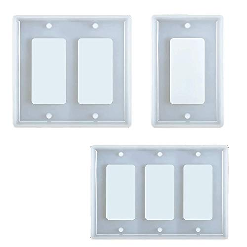 BOINN 3 Pieces Switch Plate Resin Molds Socket Panel Silicone Light Switch Plate Epoxy Molds Switch Plate Casting