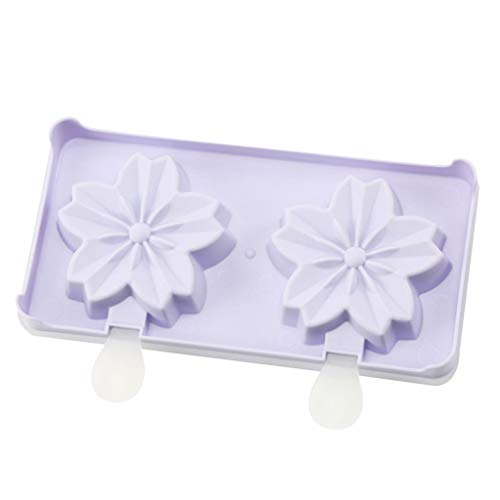 MULIN 2 Cell Cherry Blossoms Shapes Mini Ice Cream Mold, for Spring and Summer, Ideal for Making All Kinds of DIY ice Food, Lightweight & Durable Ice Popsicle Mold