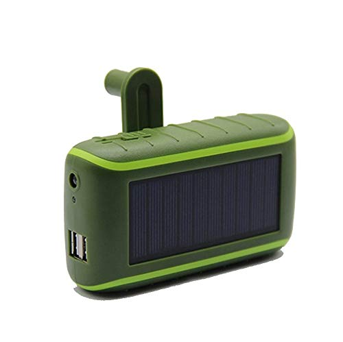3 in 1 Solar Power Bank 10000mah, Emergency Tool Powered by Hand Crank Generator with Dual Usb Outdoor Portable Charger, Suitable for Travel and Camping (Color : Green)