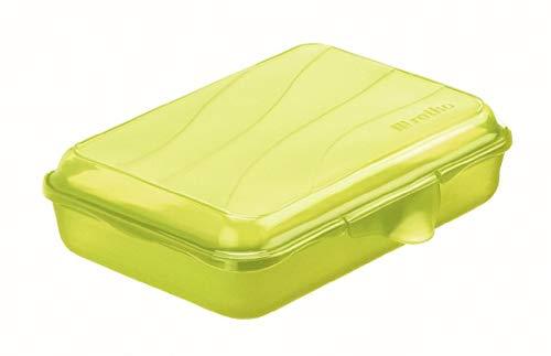 Rotho Fun flache Vesperdose 0.45l mit Klickverschluss, Kunststoff (PP) BPA-frei, grün, 0,45l (16,0 x 11,0 x 4,0 cm)