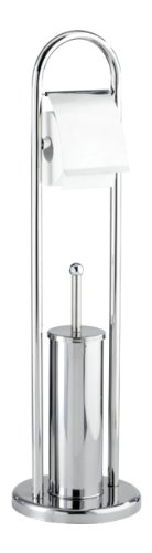 WENKO Exclusiv Stand WC-Garnitur Vasto Edelstahl - WC-Bürstenhalter, Edelstahl rostfrei, 22 x 81 x 22 cm, Glänzend