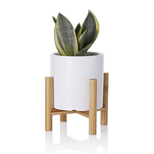 Keramik-Blumentopf – 10,9 cm, matt-weiß, kleiner zylinderförmiger Keramik-Übertopf für Sukkulenten, Kakteen, Blume mit Ablaufloch und Bambus-Ständer