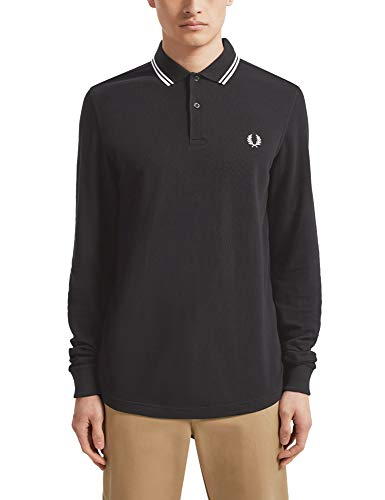 Photo of Fred Perry Men's FP LS Twin Tipped Shirt Themal Top, Black, S