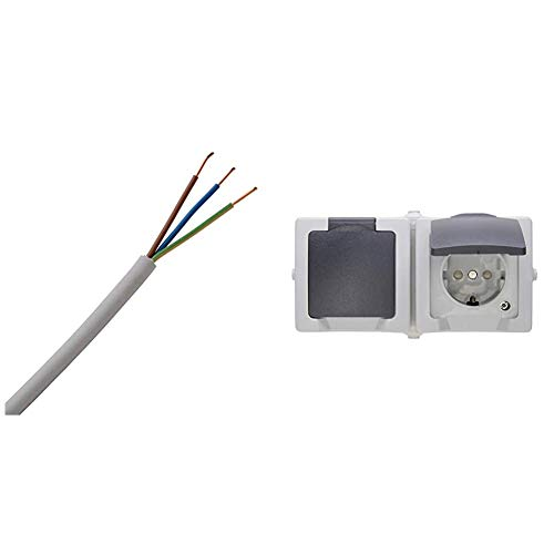 Kopp 150825001 NYM-J 3 x 1,5 mm² Feuchtraum-Kabel, 25 m-Ring & Nautic 2-Fach Steckdose Aufputz Feuchtraum, IP44, grau, 137056002