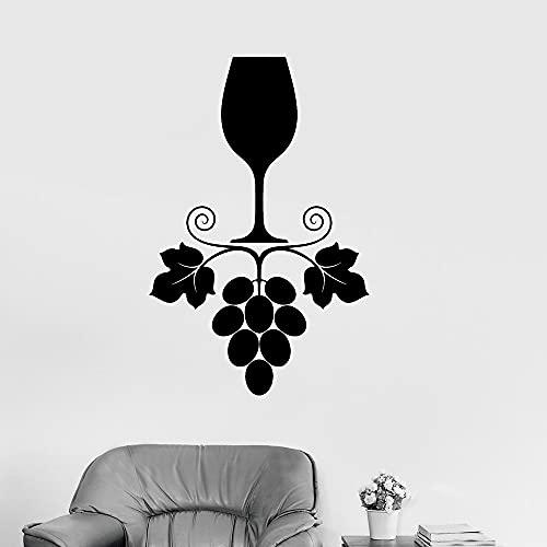 Calcomanía de vinilo de uva de vino, pegatina de vidrio para cocina, restaurante, barra de bebidas, pegatina de pared, Mural móvil para restaurante A8 27X42 CM