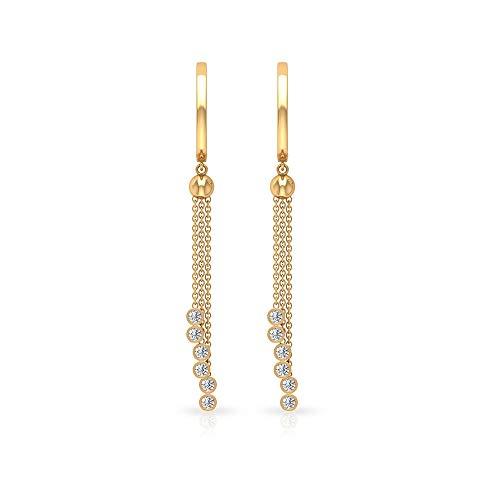 Aretes de aro de diamante certificado SGL de 0,30 quilates, ropa de trabajo única para mujeres, 10K Oro amarillo, Par