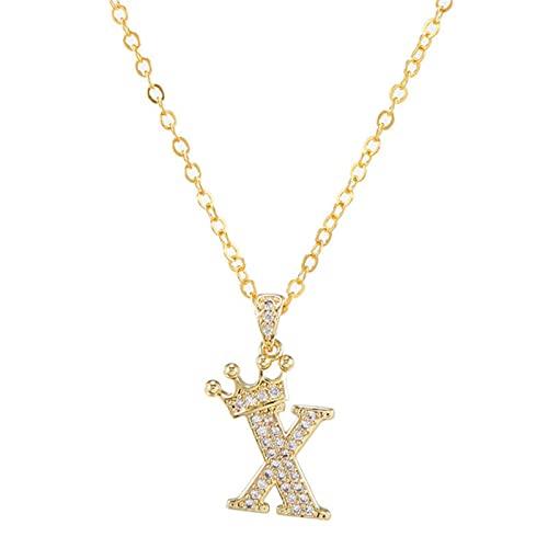 LeNing shop Nuevo Collar de Cadena con Colgante de Alfabeto de Corona de circonita de Cobre de Lujo Estilo Punk Hip-Hop Moda Mujer Hombre joyería con Nombre Inicial