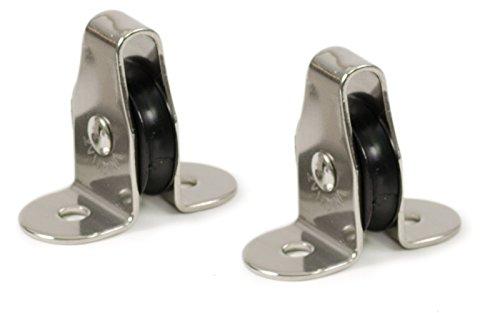 wellenshop 2X Umlenkrolle Seilrolle Stehblock für Seil Ø 4mm Edelstahl Kunststoff Nylon Mini-Block
