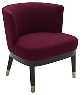 """Rivet Stacey Mid-Century Modern Round-Backed, Armless Living Room Chair, 27"""" W, Sangria (B07QFP4WFR) 