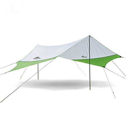 Topnaca Lightweight Camping Tarp Shelter Beach Tent Sun Shade Awning Canopy with Tarp Poles, Portable Waterproof Sun-Proof 204.7x181/157.5x137.8 for Hiking Fishing Picnic (Green&Grey-L)