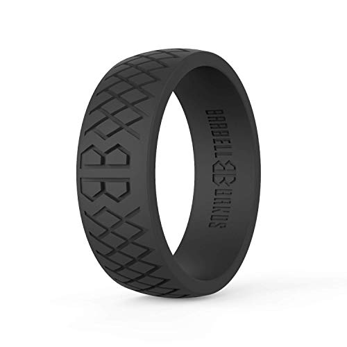 Barbell Bands Silicone Ring For Men | Premium Rubber Wedding Band | Perfect for Tactical Jobs, Weightlifting, Active Lifestyle (Black, 9)