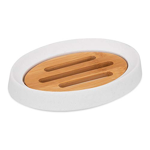 SOAPHA Soap Dishes for Bathroom with Drainage Holes – Natural Wooden Bamboo Soap Dish Holder with Drain Tray for Shower, Kitchen, Sink – Non slip Eco Soap Saver, Stone Effect (White)