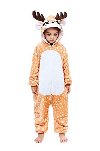Children's Reindeer Animal Costume Flannel Onesie Chrisamas Cosplay 3 Years