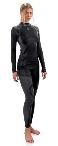 Sesto Senso Donna Intimo Termico Impostato Maglia a Maniche Lunghe T-Shirt Funzionale e Pantaloni Lunghi Leggings M Grigio