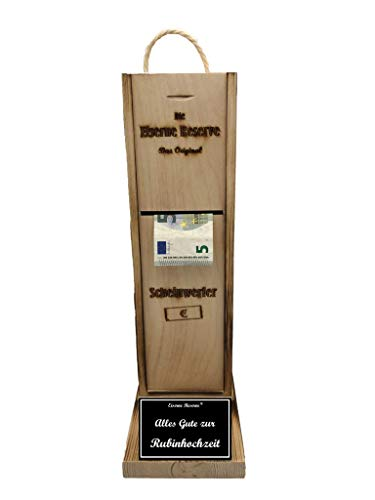 Alles Gute zur Rubinhochzeit - Eiserne Reserve ® Scheinwerfer - Geldautomat - Geldgeschenk - Geschenk zur Rubinhochzeit - ausgefallene originelle lustige Geschenk- Geld verschenken