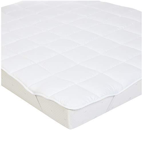 AmazonBasics - Weiche Matratzenauflage mit Mikrofaser-Polyester-Füllung und Riemen, 100 x 200 cm, Weiß