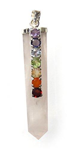 Colgante Chakra punta cuarzo rosa con 7 piedras preciosas facetadas, 6 cm, plata 925