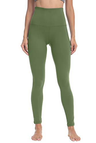 QUEENIEKE Damen-hohe Taillen Yoga Leggings Hosen Trainings Strumpfhosen laufen Armee-Grün L